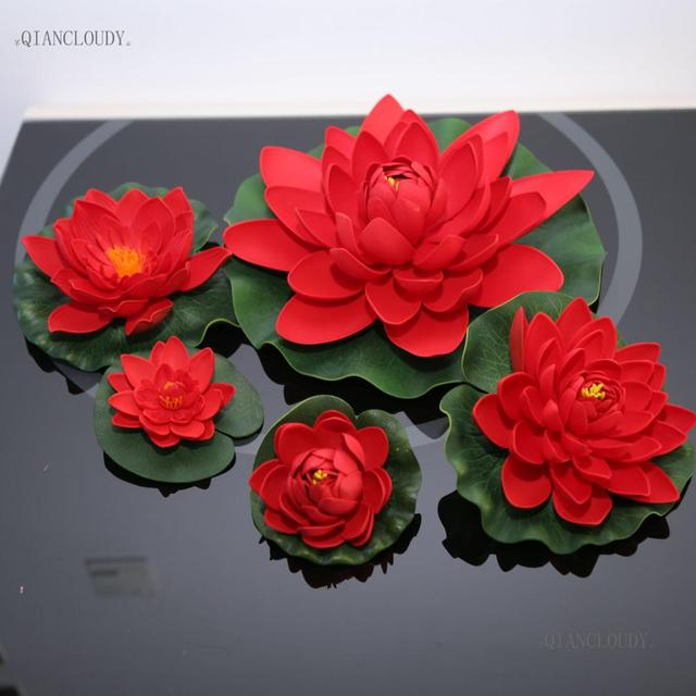 Artificial Red Lotus Leaves Flowers Water Lily Fake Ponds Swimming