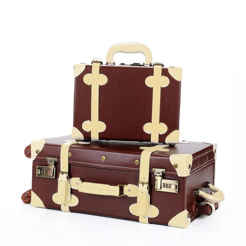 High quality PU leather Travel vintage Rolling luggage suitcase bag set, 202224  Retro wheel trolley CaseHigh quality PU leather Travel vintage Rolling luggage suitcase bag set, 202224  Retro wheel trolley Case