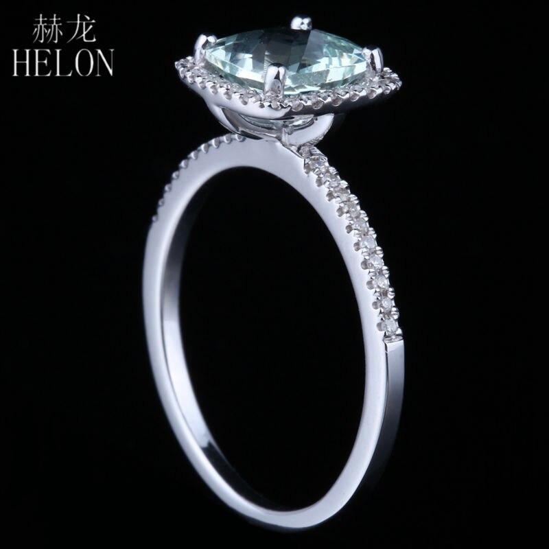 HELON 925 Sterling Silver 7x7mm Cushion 1.3ct 100% Genuine Aquamarine Natural Diamonds Ring Exquisite Gemstone Jewelry Fine Ring  グループ上の ジュエリー & アクセサリー からの 指輪 の中 3