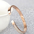 Rose Gold Plating Girl's Wristband Titanium Steel Set with White Shell Clasp Bangle Cuff Jewelry Bracelet