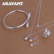 Jewelry-Set Bracelet Water-Drop-Earrings 925-Silver Women Necklace Pendant Luxury New-Arrival