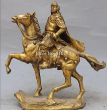 Free Shipping 15 Chinese Bronze Three Kingdoms Invincible General Zhao Zilong On Horse Statue