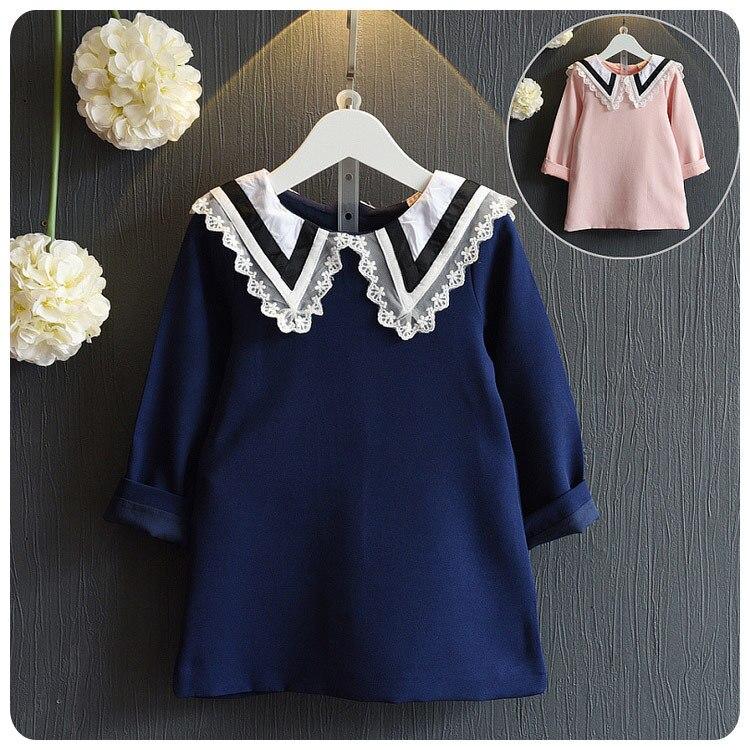 438c1f19db 2016 chica otoño ropa nueva ropa de los niños coreanos otoño nuevo patrón  encantador Encaje solapa una palabra vestido chaqueta
