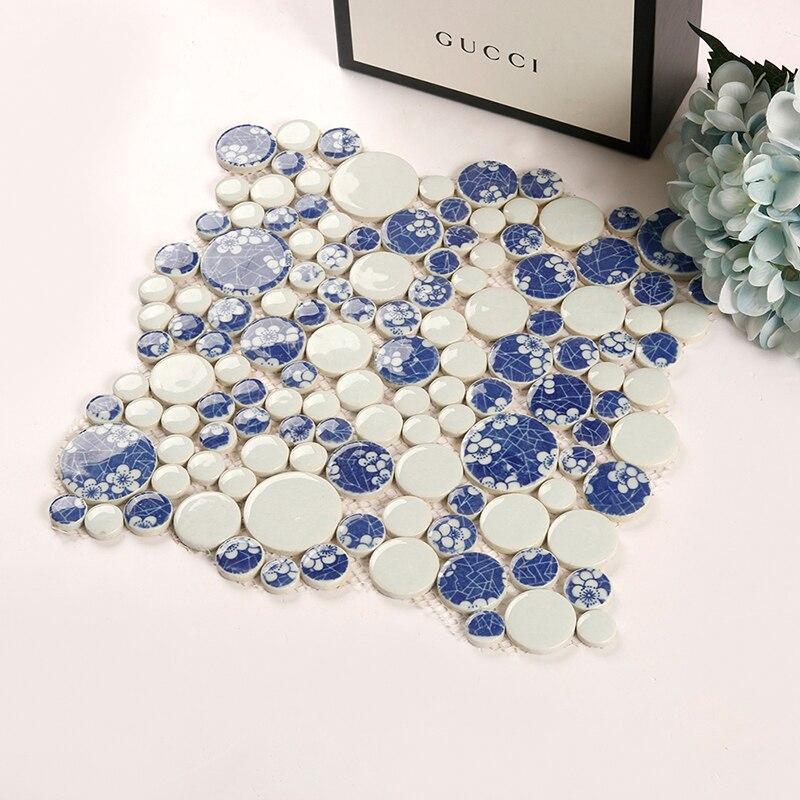 Китайские белые и синие мозаичные плитки, водостойкие напольные мозаичные обои, мозаичные плитки