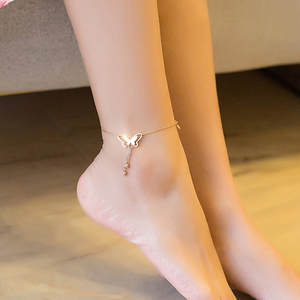 Handmade Anklet Bracelet Jewelry Foot-Chain Beach-Leg Butterfly Golden Yoga Silver-Color