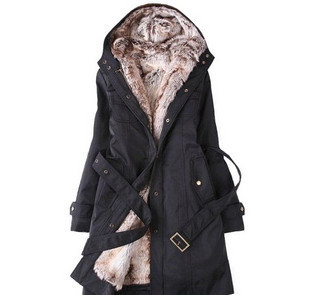 ФОТО cainikaier Faux lining women fur Hoodies Ladies coats winter warm long coat jacket cotton clothes thermal parkas Free Shipping