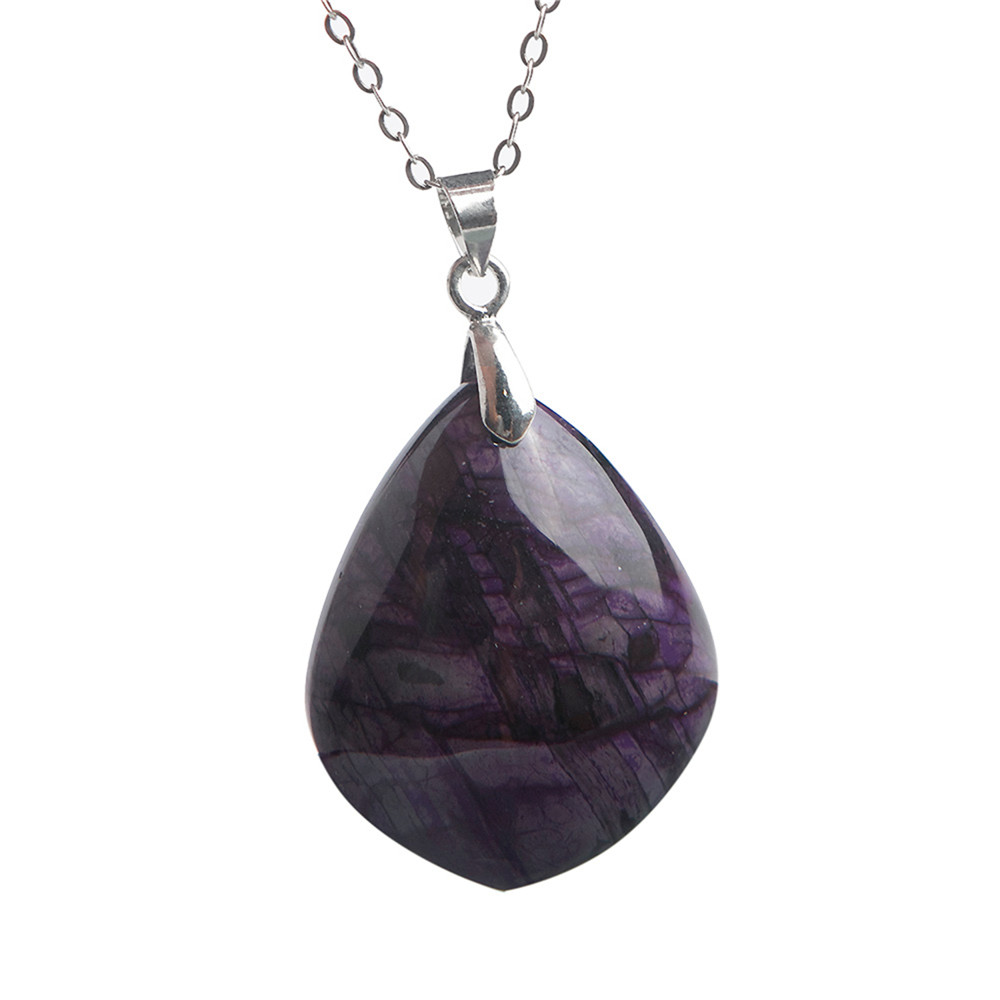 Trendy Jewelry Pendant Necklace Natural Stone Sugilite Crystal Gem Pendants For Women Female 28.5x23x8mm unique geometric faux gem embellished floral pendants beads necklace for women