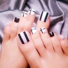 24Pcs Shiny Fake Toe Nails Pre-designed False Toenail Glitter Black White Silver DIY Foot Nail Art Manicure Accessories