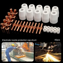 40pcs PT31 LG40 Plasma Cutter Torch Consumables 40A Electrodes Nozzles For CUT40 312 Plasma Cutting Machine