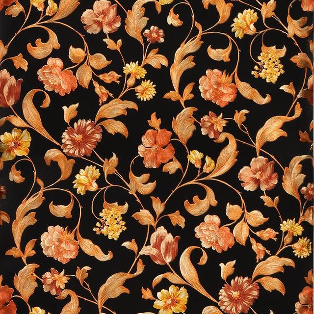 Chinois 3d Floral Fond D Ecran 3d Noir Papier Peint Pvc Etanche