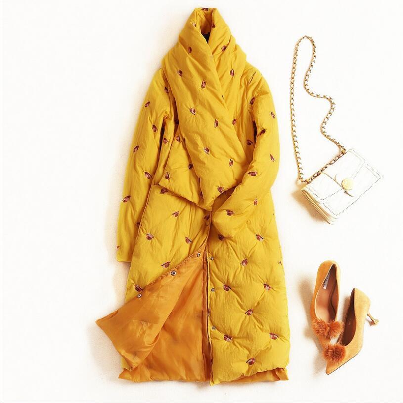 2018 hiver nouvelle marque de mode 90% duvet de canard blanc veste femme grande taille chaud plus vers le bas manteau avec une belle bib