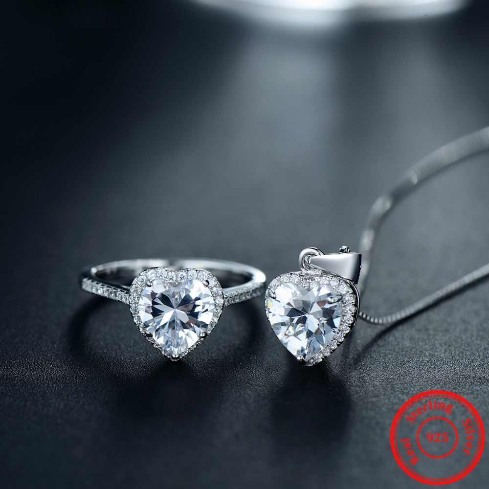 موديان تصميم جديد الصلبة 925 فضة مجموعات مجوهرات خاتم قلادة الزفاف الكريستال الطبيعي قلادة سلسلة الموضة للنساء