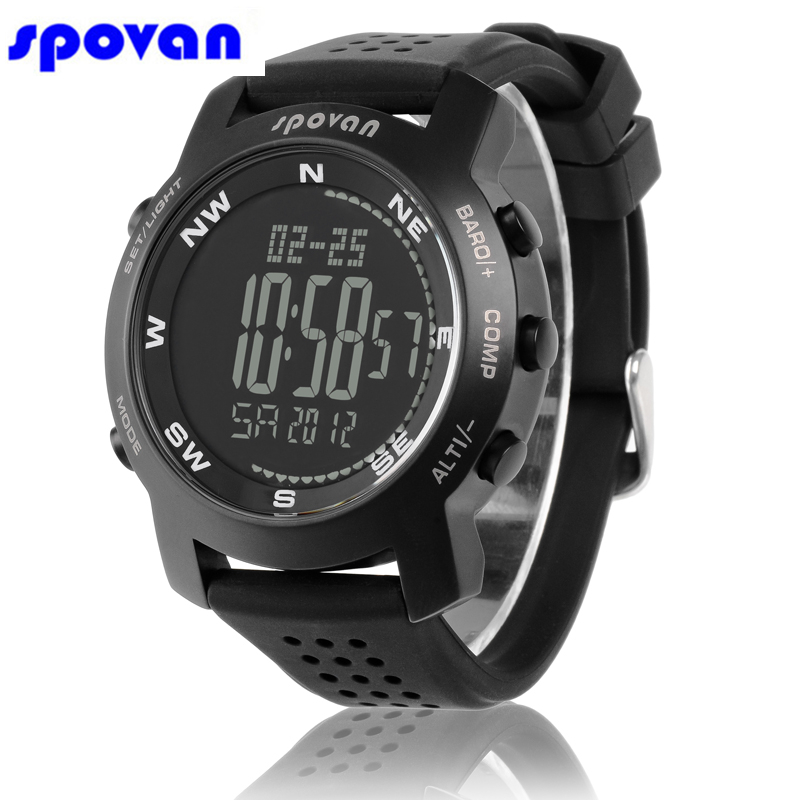 SPOVAN Brand Men's Fashion Digital Sports Climbing Watches Outdoor Hiking Compass Waterproof LED Shock Resistant Men Watch