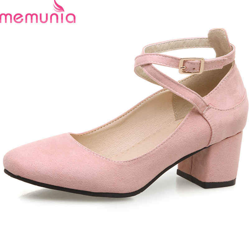 MEMUNIA 2018 new arrive pumps women shoes spring summer top quality flock simple buckle fashion square toe high heels shoes moonmeek new arrive spring summer female pumps high heels pointed toe thin heel shallow party wedding flock pumps women shoes