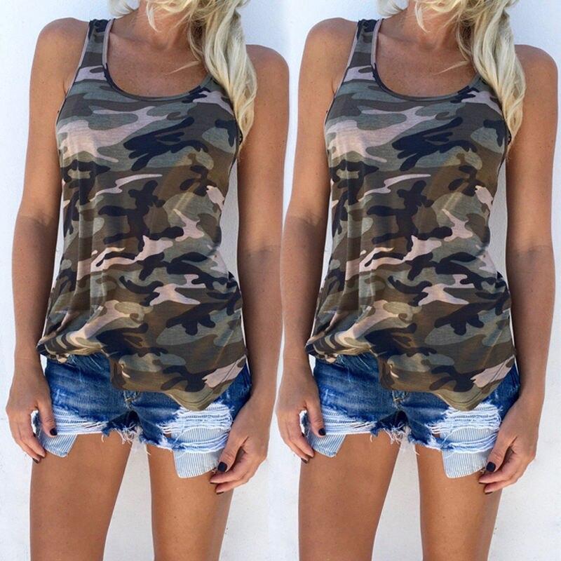 Hot Fashion Women Girls Casual Camouflage Vest   Tank     Tops   T-Shirt Summer Women Sleeveless Army Green T-Shirt Clothes