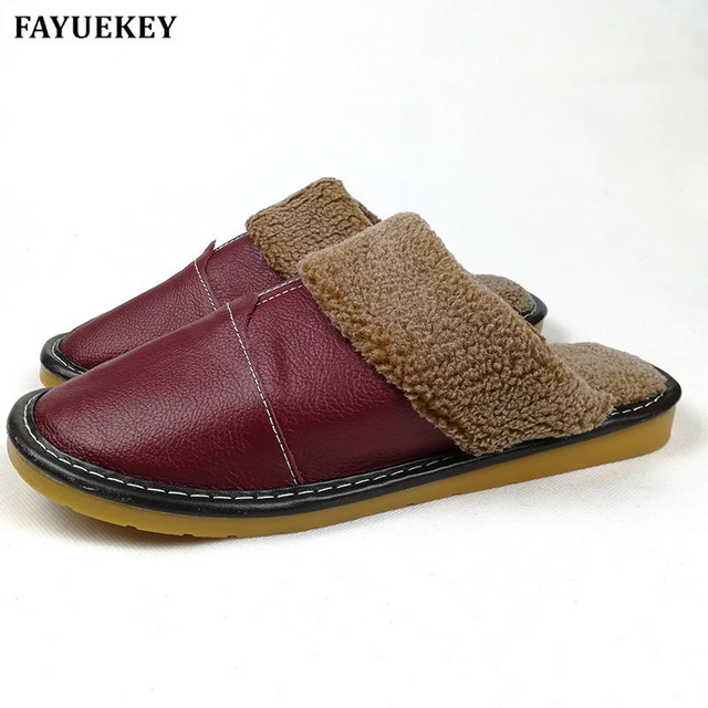 bf94f73a34f55 FAYUEKEY New Fashion Winter Leather Home Slippers Women Indoor\ Floor Outdoor  Slippers Warm Cotton Plush Non-slip Flat Shoes