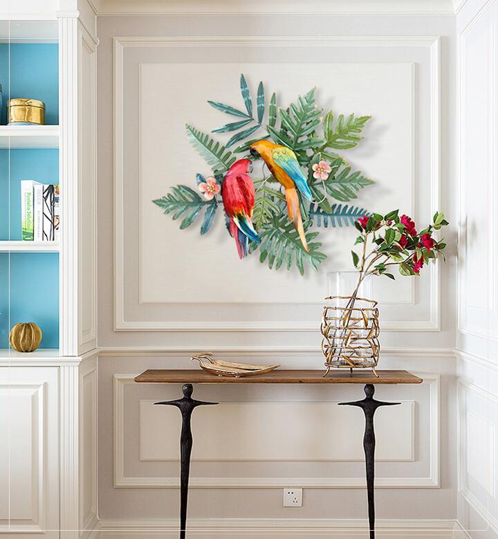 Creatieve Smeedijzeren Tropische Bloemen Vogels Muur Opknoping Ornament Decoratie Thuis Veranda Sofa Achtergrond 3D Muursticker Ambachten