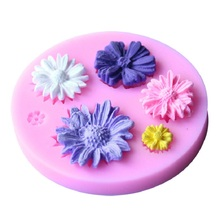 Pink Flowers Silicone Mold Cake Chocolate Wedding Decorating Tools Fondant Candy