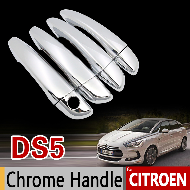 for Citroen DS5 2011-2017 Chrome Handle Cover Trim Set DS 5 2012 2013 2014 2015 2016 Car Accessories Stickers Car Styling for toyota isis platana 2004 2015 chrome handle cover trim set 2005 2006 2007 2008 2010 2012 2013 2014 accessories car styling