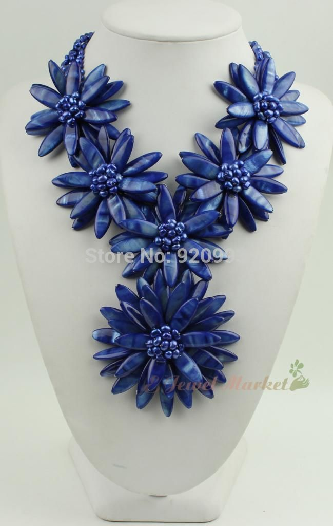 FREE SHIPPING>>>@@ Wholesale Free P&P****N14071111 blue shell blue FW pearl flower necklace цена и фото
