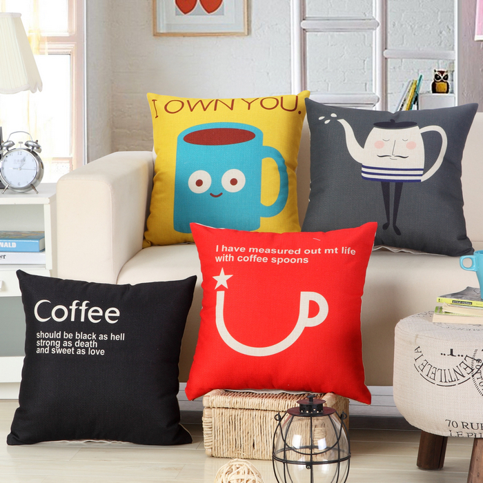 RUBIHOME Yellow Back Cushion Cover Coffee Tea Cup design Home Decor Sofa Decorative Throw Couch Pillow Good Quality Square