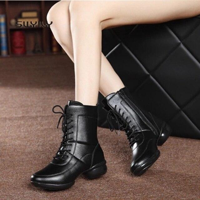 03fd9498347 US $25.93 24% OFF SWYIVY Women Dance Shoes Genuine Leather Soft Heel Dance  Sneakers Women 2018 New High top Warm Boots Women Modern Dance Shoes-in ...