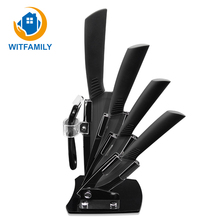 Kitchen Knife Ceramic Knives Accessories Set 3″Paring 4″ Utility 5″ Slicing 6″Chef Knife+Holder+Peeler Black Blade Christmas Day