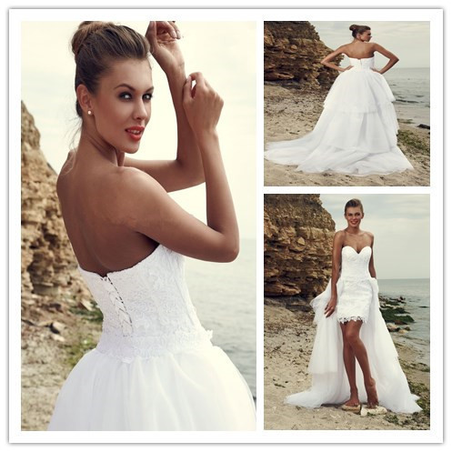 Compare Prices on Short Wedding Dress with Long Detachable Train ...