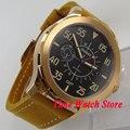 44 мм Parnis с сапфирами стекло ST2557 GMT 24 часа мужские часы 776 черный циферблат Золотой корпус 5ATM Водонепроницаемость