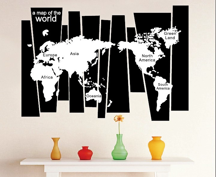 Hot Sale 75 105cm Cool Black White World Map Wall Sticker Room