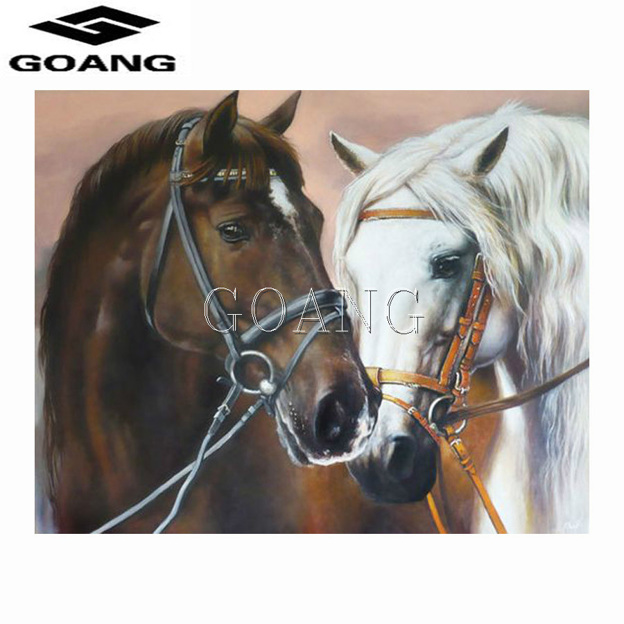 GOANG New 5D Diamond Mosaic DIY Diamond Painting Black white horse Kissing Cross Stitch Embroidery Craft Home Decor painting