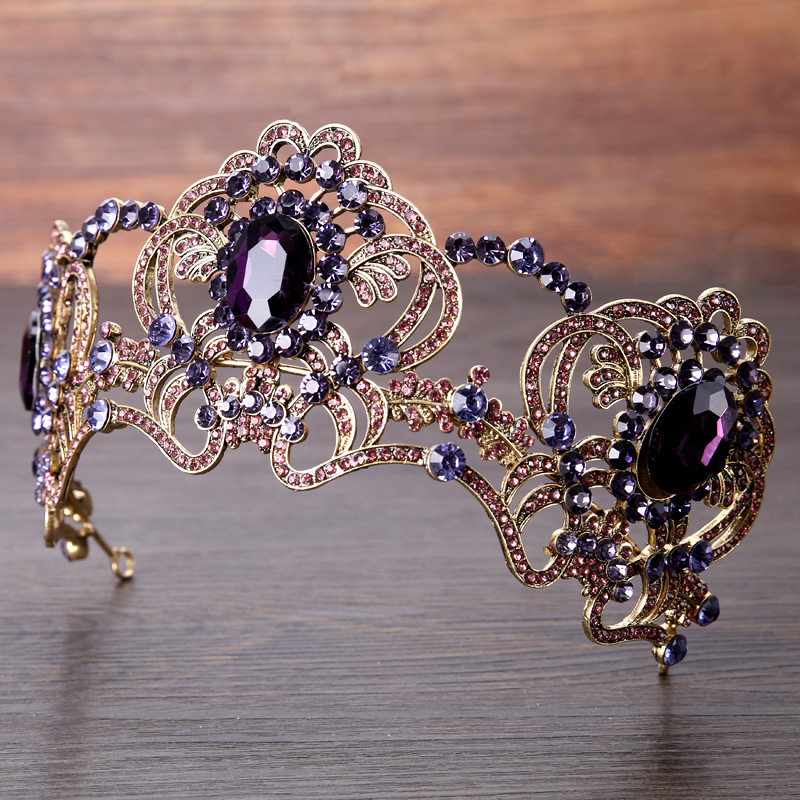 Gorgeous Purple Crystals Rhinestones Wedding Bridal Crown Tiaras Hair Jewelry Fashion Large Semicircle Bride Hairband Headpiece mi happiness red bride wedding hair tiaras gorgeous hair jewelry hanfu costume hair accessory