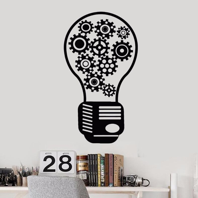 Vinyl Wall Decal Removable Gear Light Bulb Motivational Decor Office Style Stickers Office Wall Art Mural Decoration Decal AY412