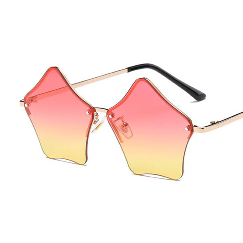 Rimless Star Sunglasses Women Elegant Luxury Retro Shades Hipster Yellow Pink Glasses Brand Designer Gradient Sunglasses Oculos reflection
