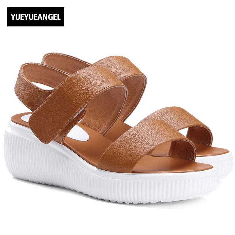 New Arrival Summer Women Casual Sandals High Quality Leather Solid Female Shoes Comfortable Platform Wedge Sandals Plus Size new 2018 summer women sandals platform heel leather comfortable wedge shoes ladies casual sandals