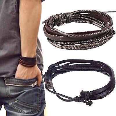 2d39832fa9dc Yantu hombres de moda joyería de múltiples capas de cuero trenzada cuerda  muñequera Cuff Pulseras hombre