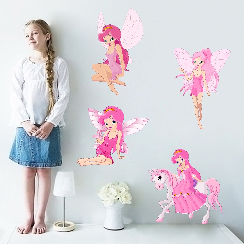 Fairy Princess Batterfly Wall Decals For Girls Baby Bedroom Vinyl Wall Sticker Home Decor Removable Wallpaper For Christmas Gift (1)