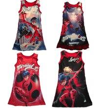 4 estilos de dibujos animados milagrosa mariquita cosplay camisetas girls dress niños tapa ocasional ropa de noche dress(China (Mainland))