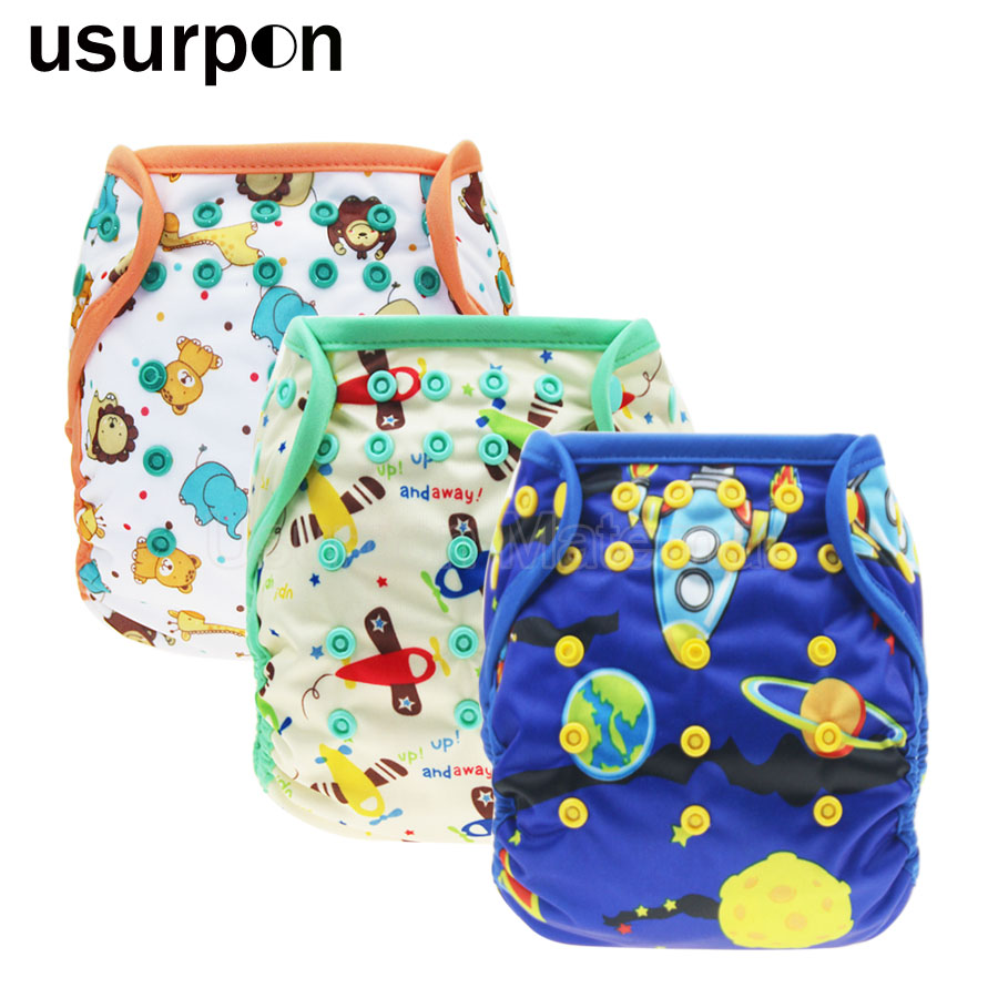 [usurpon] 1 Pc One Size Diaper Cover Waterproof Nappy Covers Colored Piping Cloth Diapers Nappies Suit 3-12kg