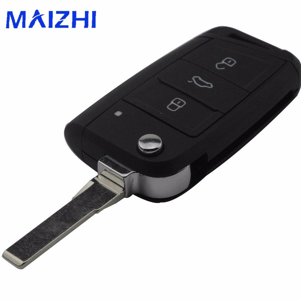 maizhi 3 Buttons Modified Folding Flip Remote Car Key Shell for VW Golf 7 GTI MK7