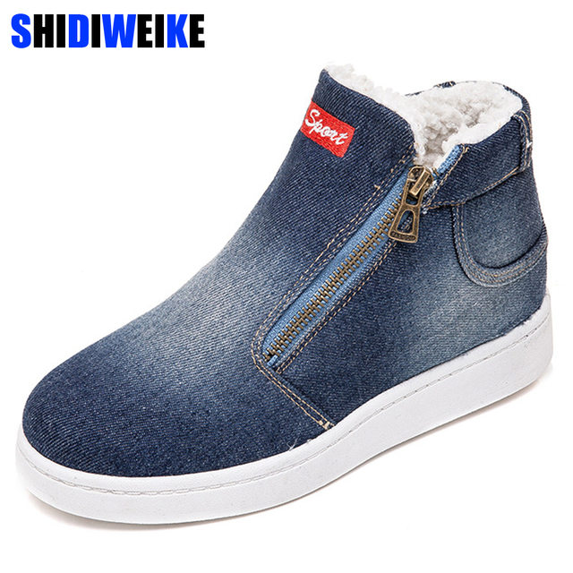 Fleece Push Warme Winter Schoenen Vrouwen Denim Jeans Laarzen Snowboots Classic High Top Ronde Neus Platte Casual Schoenen zapatos de mujer