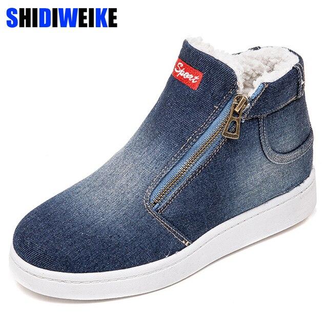 양털 푸시 Warm 겨울 Shoes Women Denim Jeans Boots Snow Boots Classic (High) 저 (Top Round Toe Flat Casual Shoes zapatos 드 mujer
