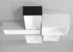 Kwadratowy czarny W prosty światło sufitowe nowoczesne proste lampy dla domu salon sypialnia restauracja przejściach i korytarzach korytarz z LED