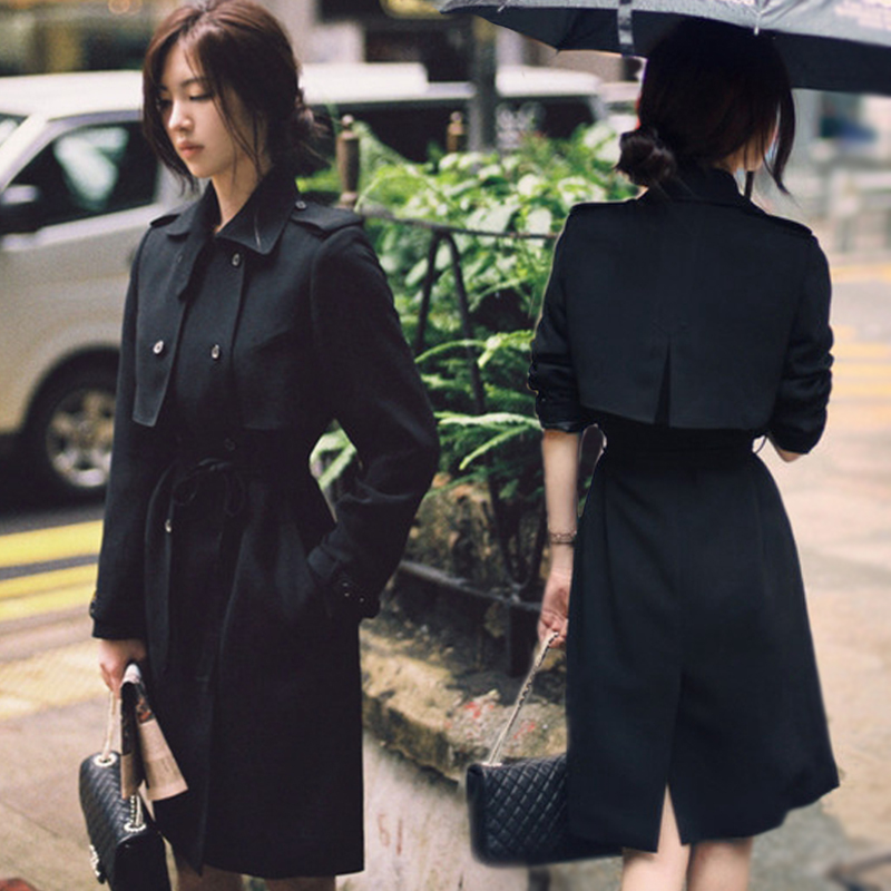 2018 autumn new fashion high quality Double Breasted sashes slim women   trench   coats elegant solid female   trench   tops gx1122