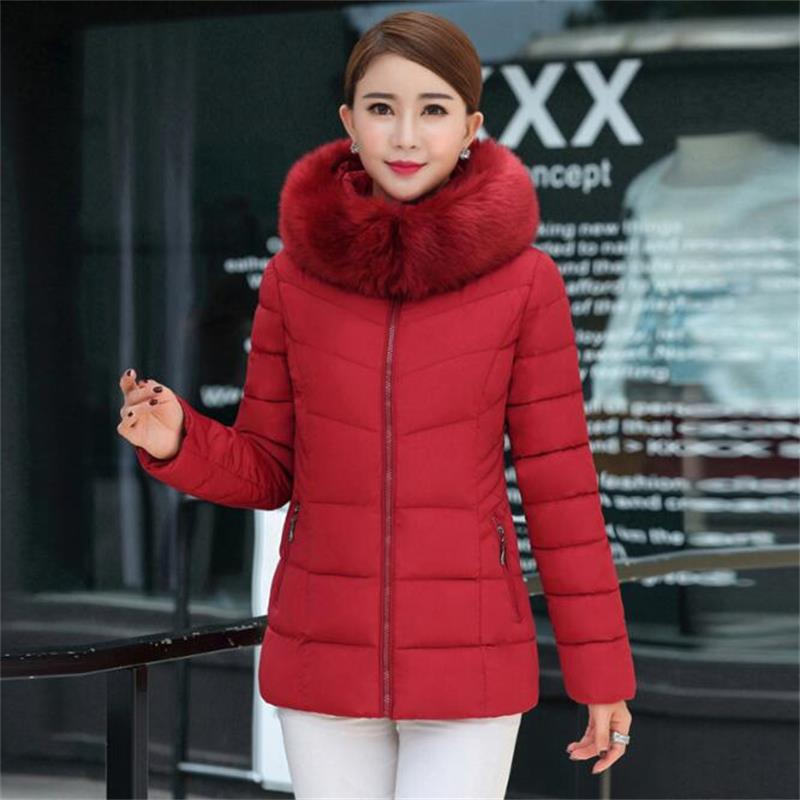 2019 New Short fur collar winter jacket women autumn cotton padded solid color womens parka with hood high quality female coat