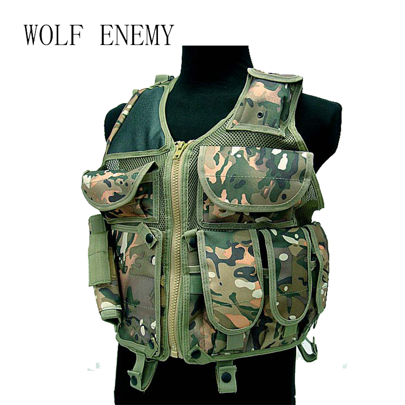 Tactical Mesh Vest Camouflage Police CS Nylon Jumper Carrier Vest Airsoft Paintball Military Hunting Protective Combat Gear