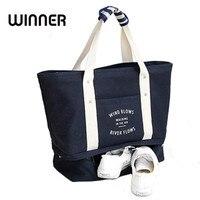 Fashion Solid Canvas Women Shoulder Bag Shoes Pocket Large Capacity Lady Travel Handbag Convenient Storage Package