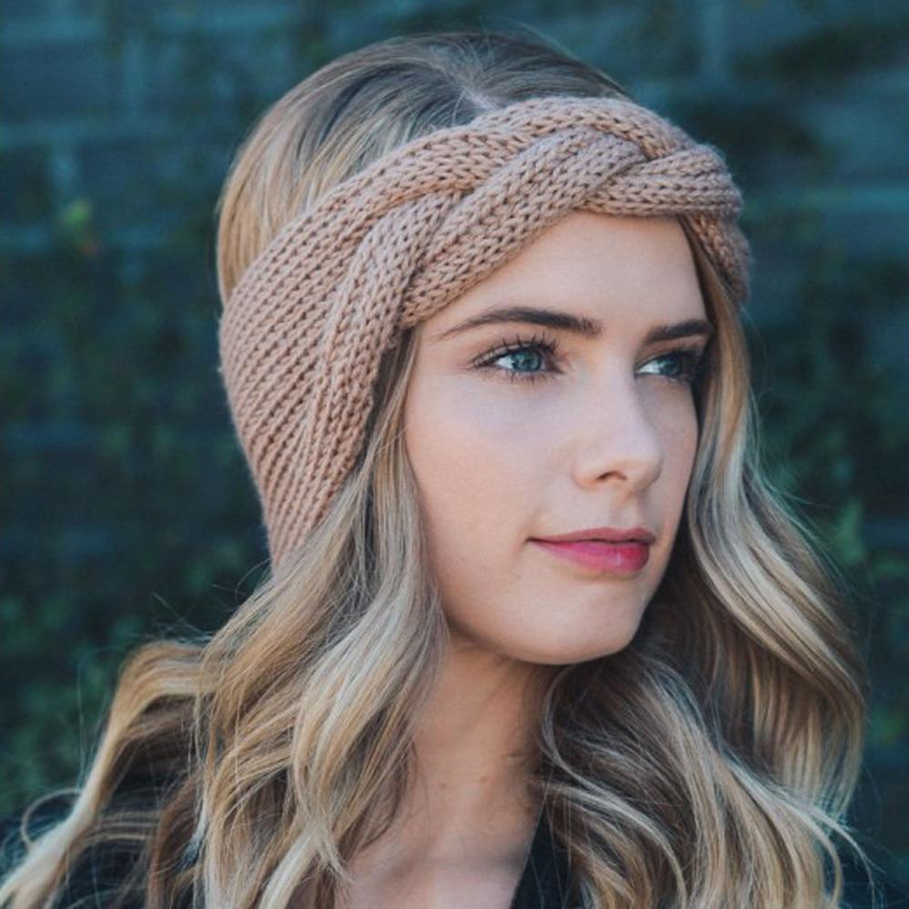 1Pcs Women Head Wrap Wide Crochet Bow Knot Turban Knitted Hairband Ear Warmer Headbands Headwrap Hair Band Accessories headpiece