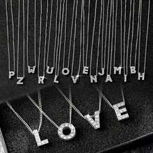 hot deal buy rhinestone name letter necklaces a-z choose letter pendants jewellery women jewelry acessories fashion customized gift for girls