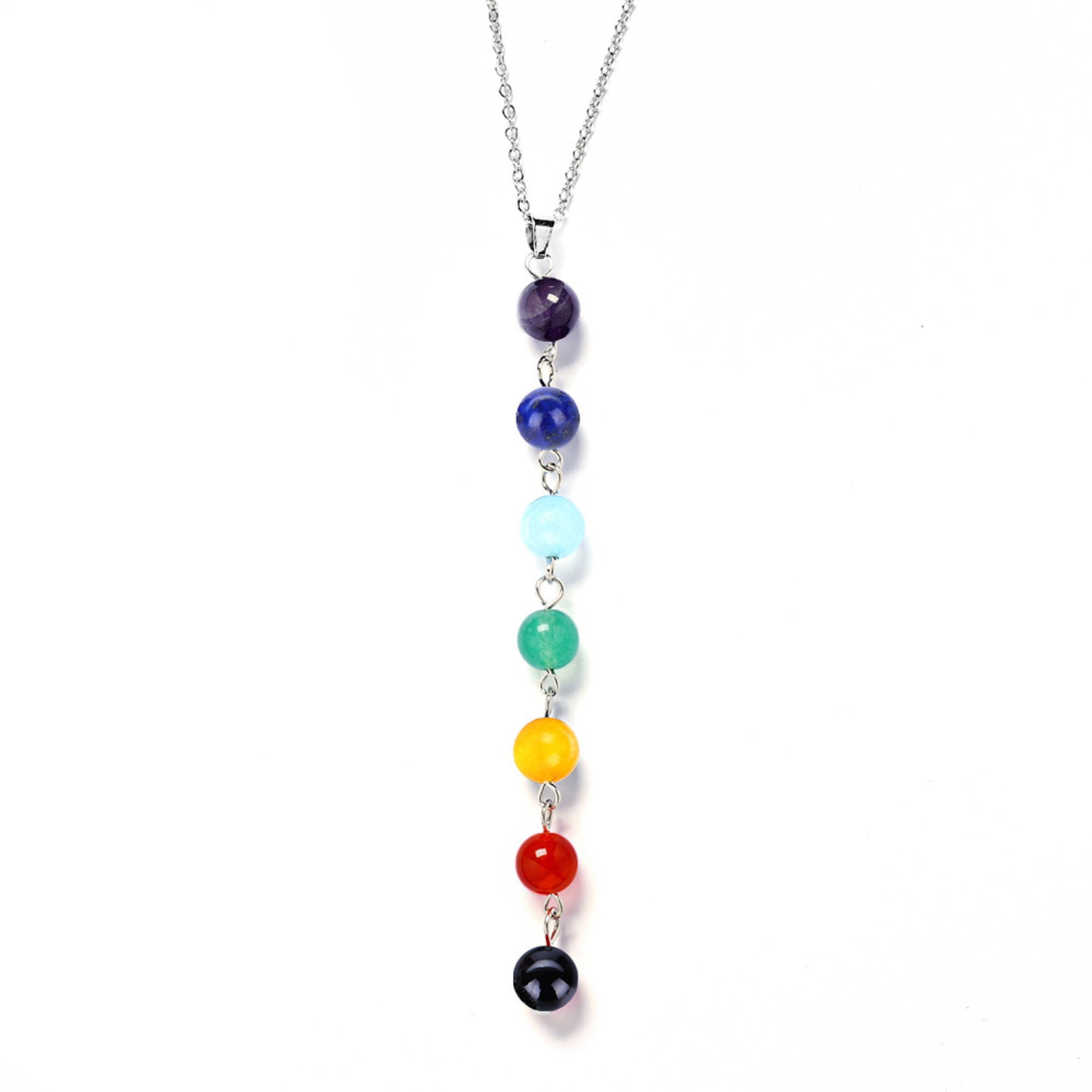chakra healing flower beads reiki quartz product necklace angel seven pendants stone gemstones pendant natural point and pendent wholesale meditation